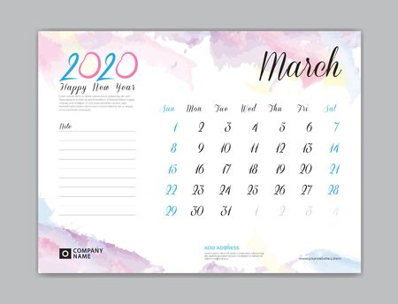 Desk Calendar for 2020 year, March 2020 template, week start on sunday, planner design, stationery, business printing, watercolor background,