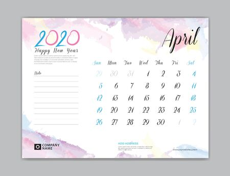 Desk Calendar for 2020 year, April 2020 template, week start on sunday, planner design, stationery, business printing, watercolor background
