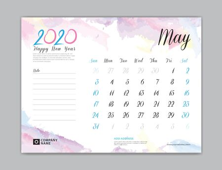 Desk Calendar for 2020 year, May 2020 template, week start on sunday, planner design, stationery, business printing, watercolor background Çizim