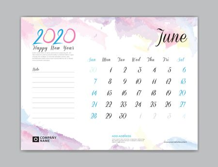 Desk Calendar for 2020 year, June 2020 template, week start on sunday, planner design, stationery, business printing, watercolor background