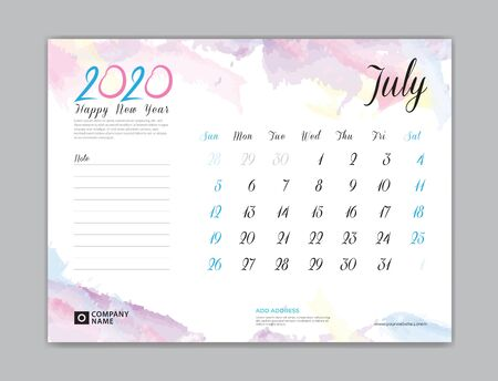 Desk Calendar for 2020 year, July 2020 template, week start on sunday, planner design, stationery, business printing, watercolor background Stok Fotoğraf - 132919917