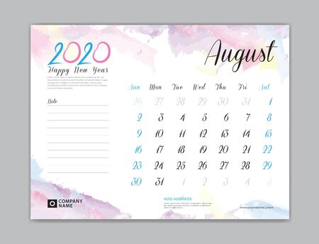 Desk Calendar for 2020 year, August 2020 template, week start on sunday, planner design, stationery, business printing, watercolor background