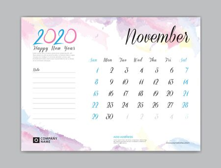 Desk Calendar for 2020 year, November 2020 template, week start on sunday, planner design, stationery, business printing, watercolor background