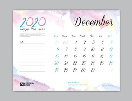 Desk Calendar for 2020 year, December 2020 template, week start on sunday, planner design, stationery, business printing, watercolor background