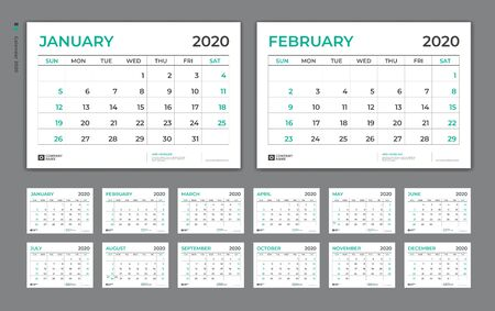 Desk Calendar 2020 template,  Week Starts on Sunday. Set of 12 Months. planner template Çizim