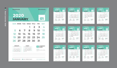 Desk Calendar 2020 template,  Week Starts on Sunday. Set of 12 Months. planner template. green background. vertical page Stok Fotoğraf - 132919952