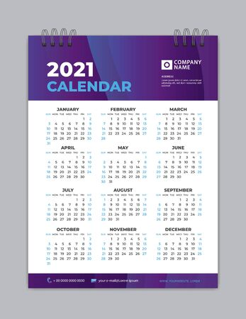 Calendar 2021 template layout, purple background, business brochure flyer, print media, advertisement, Simple design template, creative vector illustration Çizim