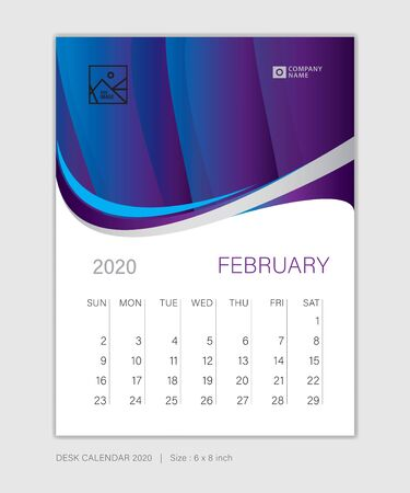 FEBRUARY 2020 template, Desk Calendar for 2020 year, week start on sunday, planner design, stationery, business printing, vertical vector eps10, purple abstract background