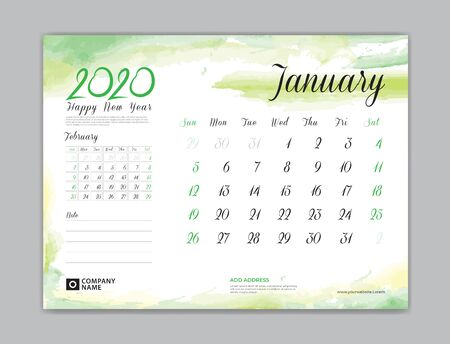 Calendar for 2020 year template, January month, Desk Calendar 2020, week start on sunday, planner design, stationery, business printing, watercolor background Stok Fotoğraf - 132919859