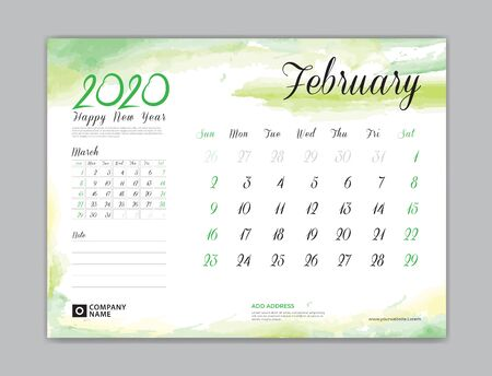Calendar for 2020 year template, February month, Desk Calendar 2020, week start on sunday, planner design, stationery, business printing, watercolor background, vector eps10,  8 x 6 inch size Çizim