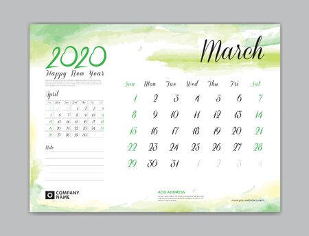 Calendar for 2020 year template, March month, Desk Calendar 2020, week start on sunday, planner design, stationery, business printing, watercolor background Çizim