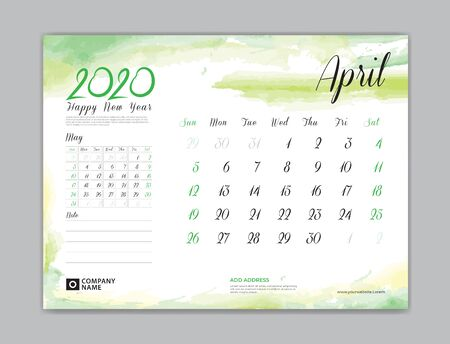 Calendar for 2020 year template, April month, Desk Calendar 2020, week start on sunday, planner design, stationery, business printing, watercolor background