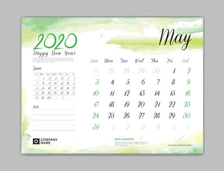 Calendar for 2020 year template, May month, Desk Calendar 2020, week start on sunday, planner design, stationery, business printing, watercolor background Çizim