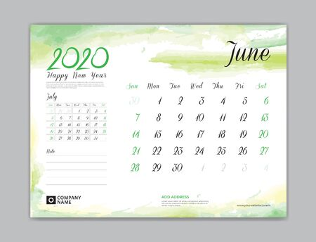 Calendar for 2020 year template, June month, Desk Calendar 2020, week start on sunday, planner design, stationery, business printing, watercolor background