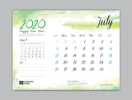 Calendar for 2020 year template, July month, Desk Calendar 2020, week start on sunday, planner design, stationery, business printing, watercolor background