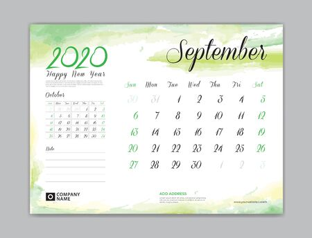Calendar for 2020 year template, September month, Desk Calendar 2020, week start on sunday, planner design, stationery, business printing, watercolor background