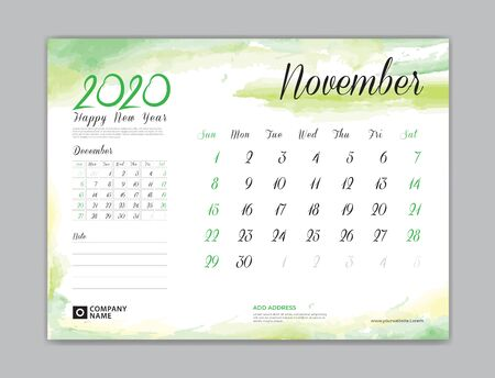 Calendar for 2020 year template, November month, Desk Calendar 2020, week start on sunday, planner design, stationery, business printing, watercolor background Çizim