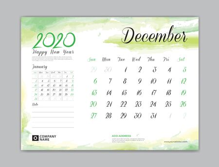Calendar for 2020 year template, December month, Desk Calendar 2020, week start on sunday, planner design, stationery, business printing, watercolor background