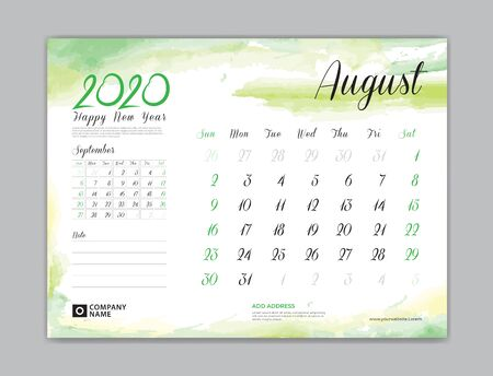 Calendar for 2020 year template, August month, Desk Calendar 2020, week start on sunday, planner design, stationery, business printing, watercolor background
