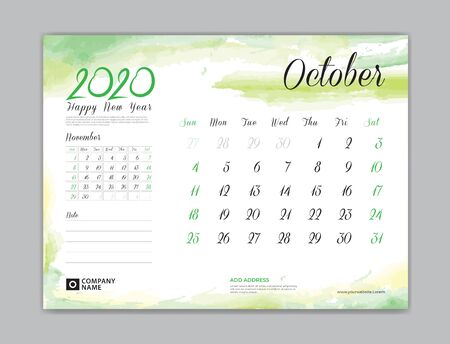 Calendar for 2020 year template, October month, Desk Calendar 2020, week start on sunday, planner design, stationery, business printing, watercolor background Stok Fotoğraf - 132920061
