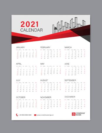 Calendar 2021 template layout, poster, wall calendar 2021, business brochure flyer, print media, advertisement, Simple design template, Red polygon background, creative vector illustration