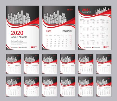 Set Desk Calendar 2020 template, Calendar 2021, Cover design. Week Starts on Sunday, Set of 12 Months, planner template. Red wave shape background Çizim