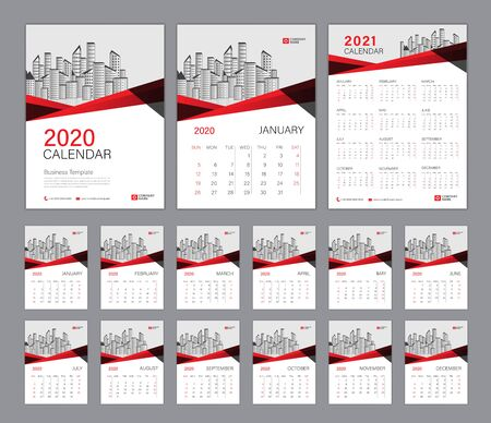 Desk Calendar 2020 template, Calendar 2021, Cover design. Week Starts on Sunday, Set of 12 Months, planner template. Red polygon shape background Çizim
