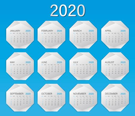 Calendar 2020 template on polygon frame, Week Starts on Sunday, Set of 12 Months, planner template, advertisement, silver modern concept, creative idea, web icon