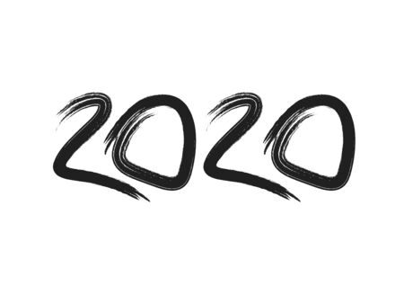2020 text design Black color, Collection of Happy New Year and happy holidays, lettering design element, handwritten isolated on white background. Calendar 2020