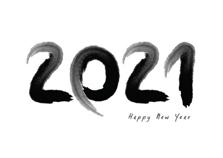 2021 text design Black color, Collection of Happy New Year and happy holidays, lettering design element, handwritten isolated on white background. Calendar 2020