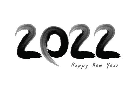 2022 text design Black color, Collection of Happy New Year and happy holidays, lettering design element, handwritten isolated on white background. Calendar 2022