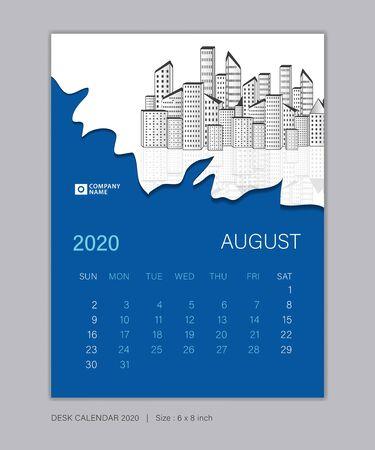 Calendar 2020 template, AUGUST, Desk Calendar for 2020 year, week start on sunday, planner design, wall calendar, Poster, flyer, stationery, printing, vertical page, Blue abstract background Çizim