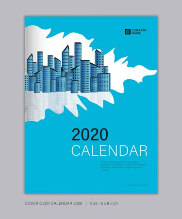 Cover Desk Calendar for 2020 template vector, 8 x 6 inch size, book cover design, brochure, flyer, vertical vector eps10, Blue abstract background Çizim