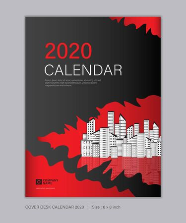 Cover Desk Calendar for 2020 template vector, 8 x 6 inch size, book cover design, brochure, flyer, vertical vector eps10, Red and black abstract background