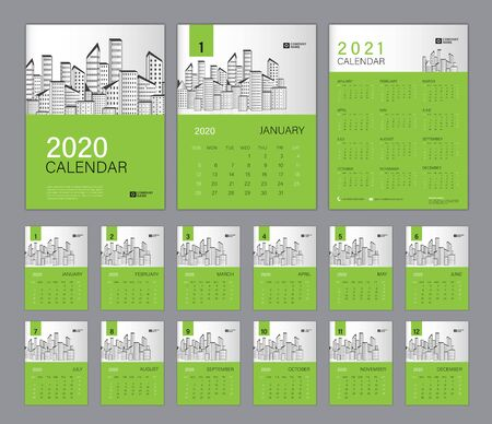 Desk Calendar 2020 template green concept, Calendar 2021, Cover design. Week Starts on Sunday, Set of 12 Months, planner template. advertisement, printing