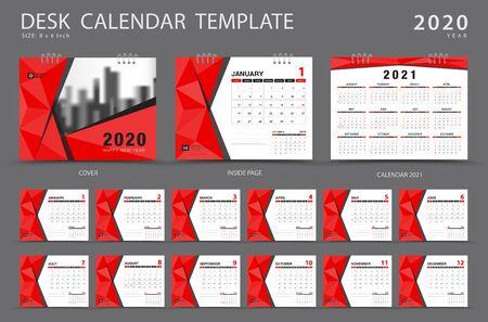 Modèle de calendrier de bureau 2020. Mise en page du calendrier 2021, ensemble de 12 mois, planificateur, la semaine commence le dimanche, conception de papeterie, publicité, conception de couverture polygonale rouge, dépliant de brochure d'entreprise, vecteur