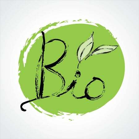 Bio icon with Green leaf hand drawn vector illustration, Calligraphic and typographic, Paint Brush stroke