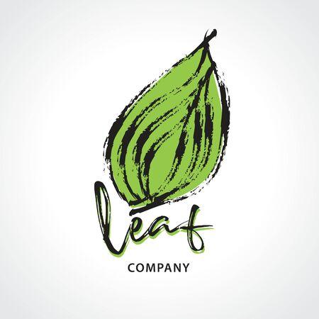 Green leaf hand drawn logo vector illustration, Natural, organic food, bio, eco, spa, Paint Brush stroke Иллюстрация