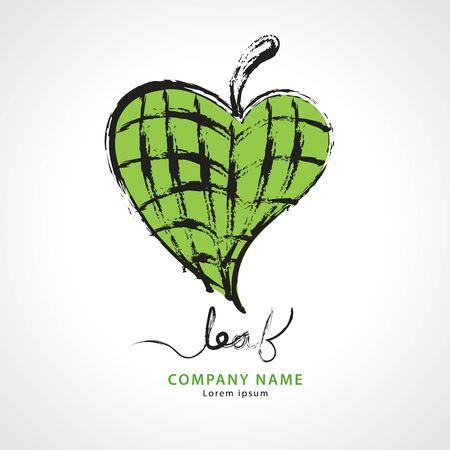 Green leaf heart hand drawn logo vector illustration, Natural, organic food, bio, eco, spa, Paint Brush stroke Çizim