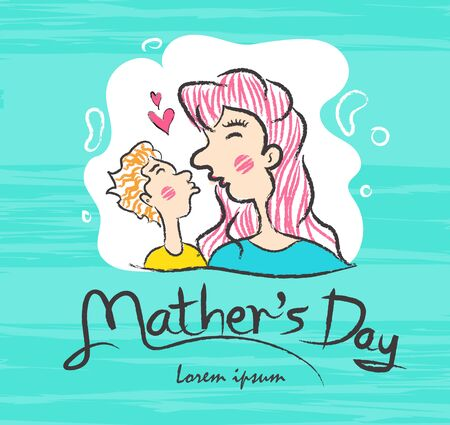 Mother's Day Calligraphy with Mother and son kissing Cartoon vector illustration, March 8. Hand draw doodle cartoon people, Paint Brush stroke