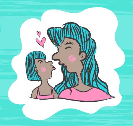 Mother and daughter kissing Cartoon vector illustration, Mothers Day, March 8. Hand draw doodle cartoon people, Paint Brush stroke