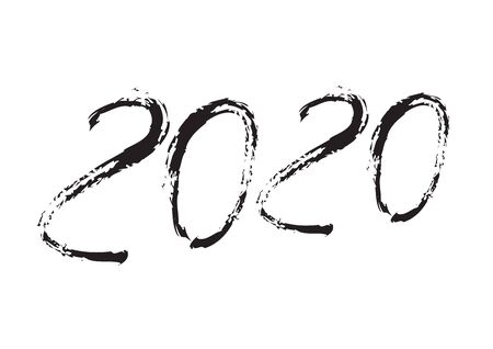 2020 text design Black color, Collection of Happy New Year and happy holidays, lettering design element, handwritten isolated on white background. Calendar 2020, Paint Brush stroke.