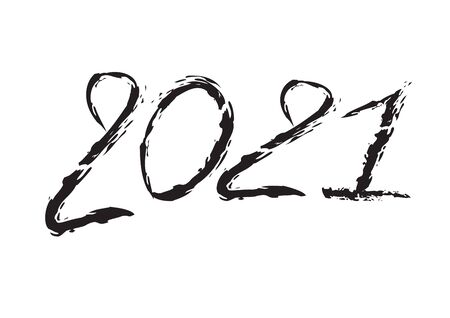 2021 text design Black color, Collection of Happy New Year and happy holidays, lettering design element, handwritten isolated on white background. Calendar 2021, Paintbrush stroke. Çizim