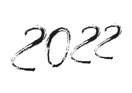 2022 text design Black color, Collection of Happy New Year and happy holidays, lettering design element, handwritten isolated on white background. Calendar 2022, Paintbrush stroke.
