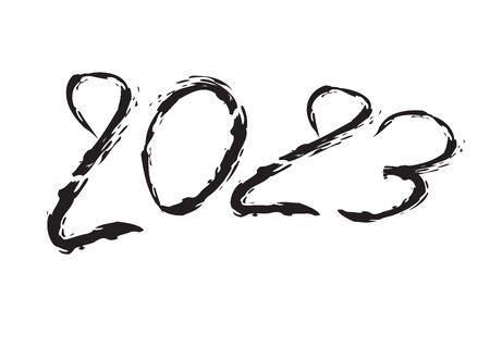 2023 text design Black color, Collection of Happy New Year and happy holidays, lettering design element, handwritten isolated on white background. Calendar 2023, Paintbrush stroke. Çizim