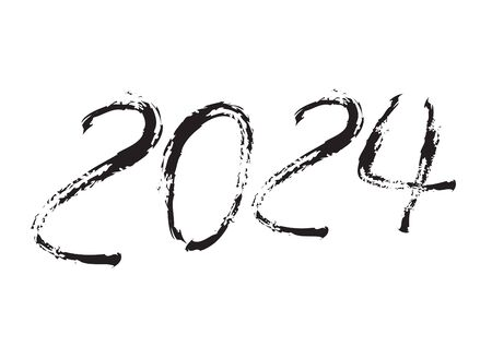 2024 text design Black color, Collection of Happy New Year and happy holidays, lettering design element, handwritten isolated on white background. Calendar 2024, Paintbrush stroke. Çizim