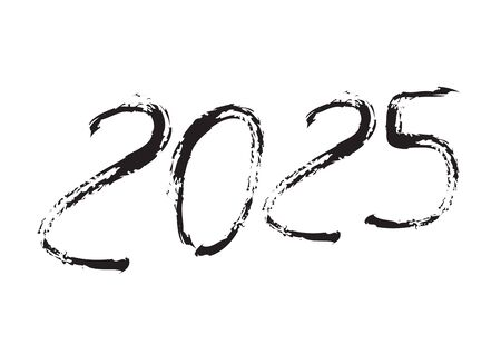 2025 text design Black color, Collection of Happy New Year and happy holidays, lettering design element, handwritten isolated on white background. Calendar 2025, Paintbrush stroke. Çizim