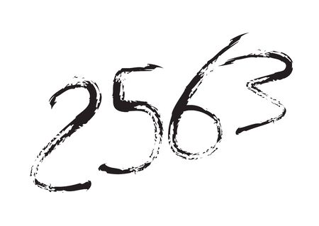 2563 text design Black color, Collection of Happy New Year and happy holidays in thailand, lettering design element, handwritten isolated on white background. Calendar 2563, Paintbrush stroke. Çizim