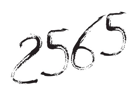 2565 text design Black color, Collection of Happy New Year and happy holidays in thailand, lettering design element, handwritten isolated on white background. Calendar 2565, Paintbrush stroke.