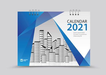 Cover desk calendar 2021 year template vector illustration, corporate design, Business flyer, brochure cover, blue abstract background, Annual report , creative idea Stok Fotoğraf - 143103102